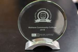 glass trophy for MCC Instructor Tonya Baxley