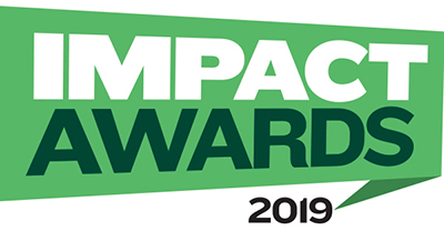 Impact Awards on green banner