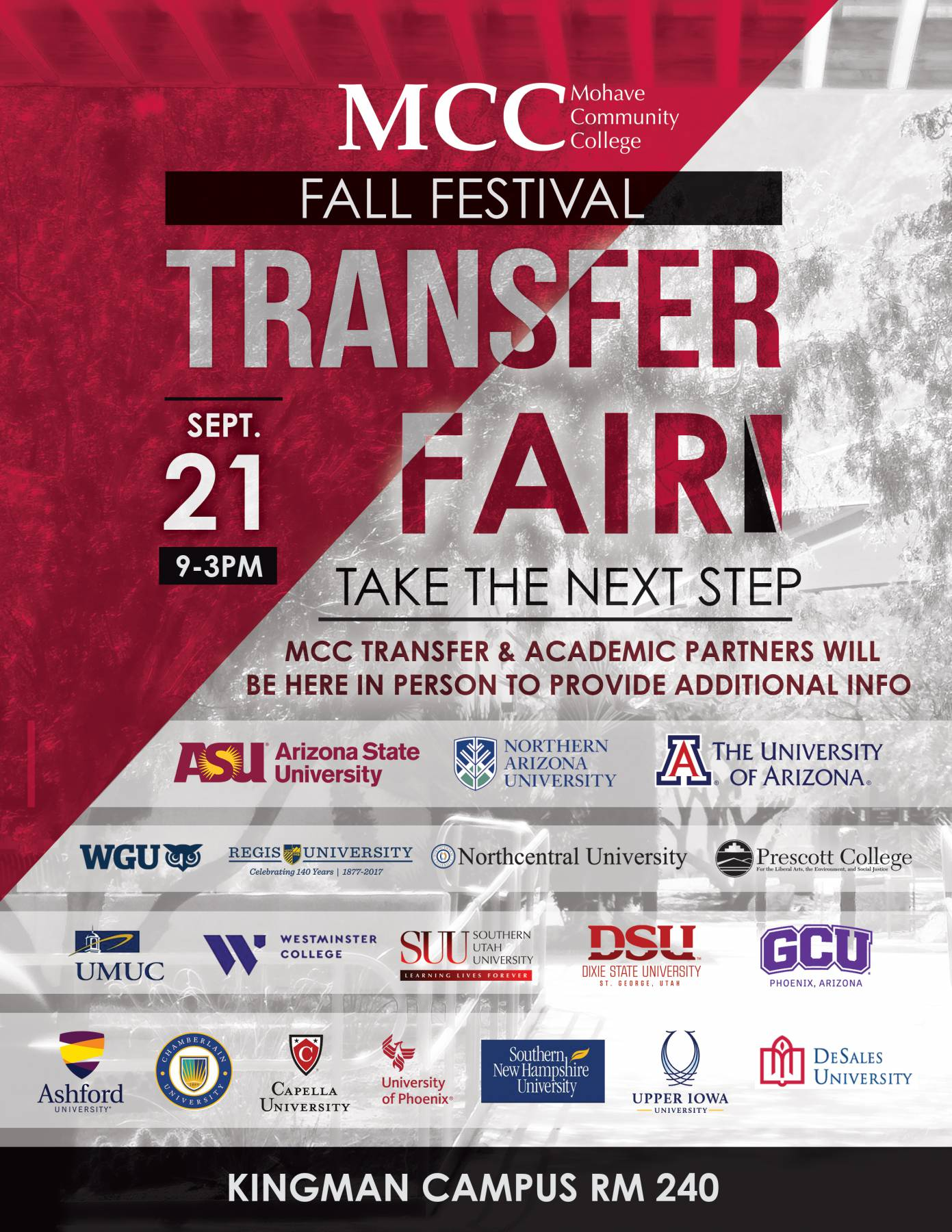 MCC Transfer Fair September 21 from 9 am to 3pm.
