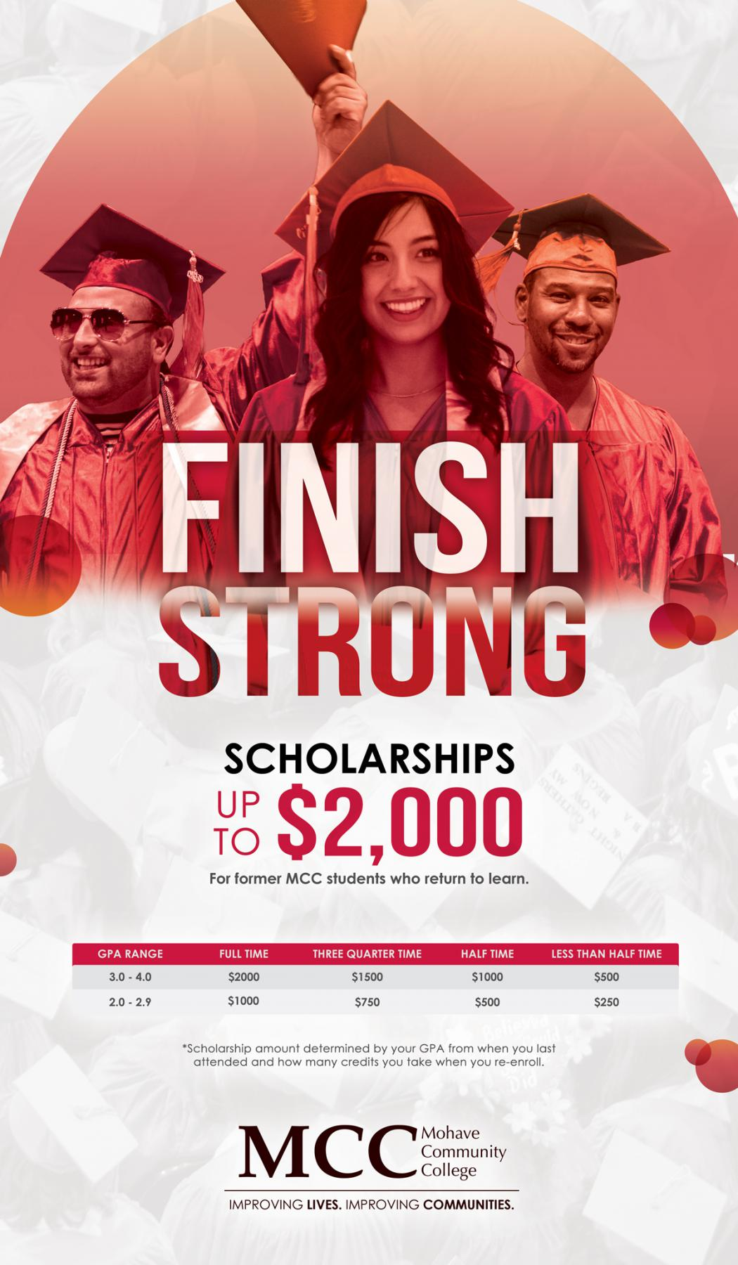 finish strong scholarshipp call 866 mohavecc for more info