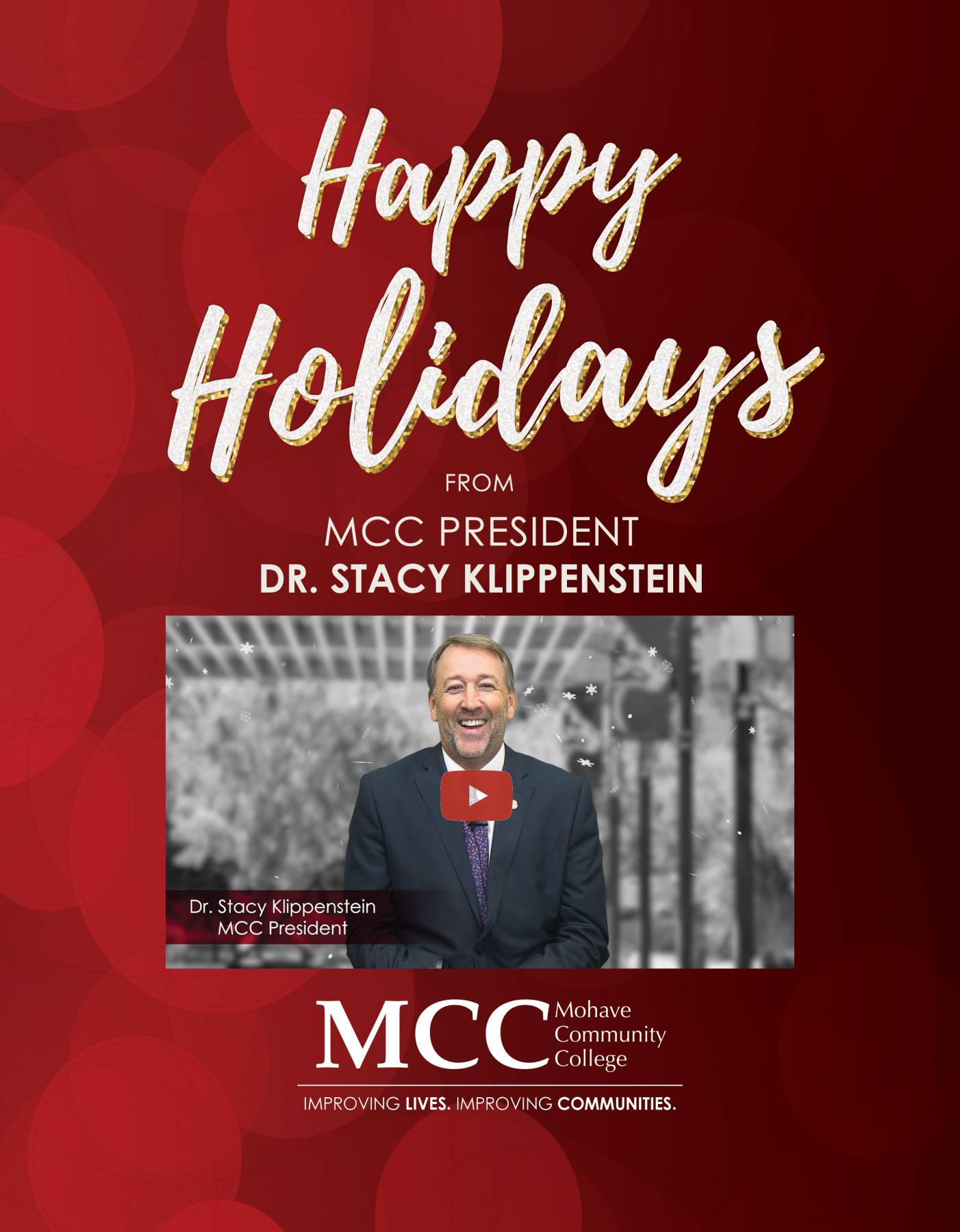 happy holidays from MCC president dr. stacy klippenstein in white letters over red background